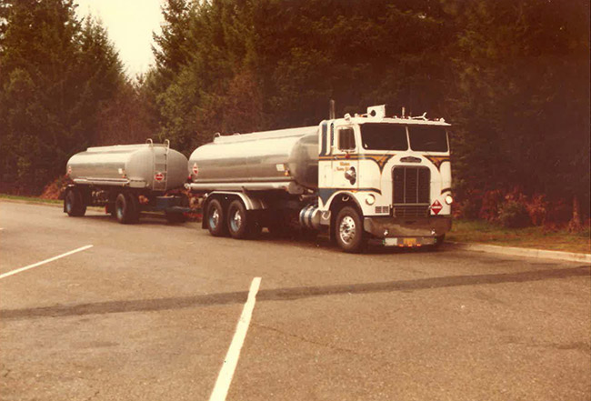 Old Astro fuel truck transporting oil